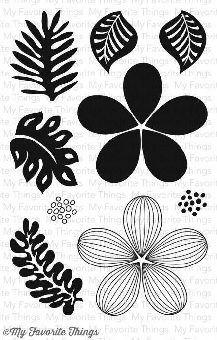 CS-93 ~ TROPICAL FLOWERS ~ CLEAR CLING BACKED STAMPS~ MY FAVORITE THINGS